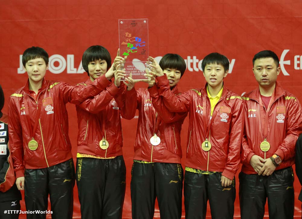 La Chine, Championne du Monde Juniors en tennis de table