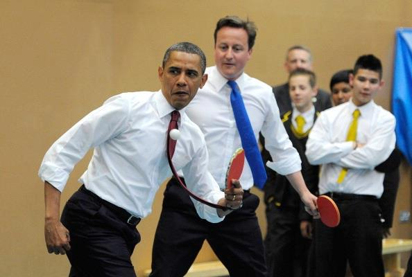 Barack Obama plays Ping pong